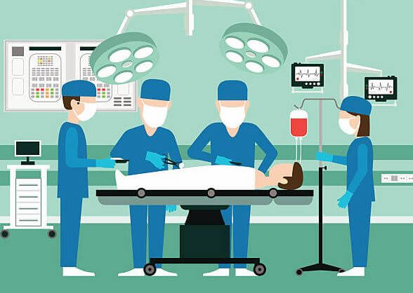 A picture of surgeons working in operation theater